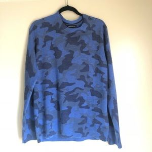 Men's blue camouflage j. crew sweater